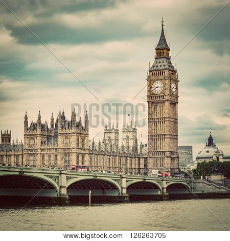 Big Ben, Westminster Bridge on River Thames in London, the UK. English symbol. Vintage, retro style
