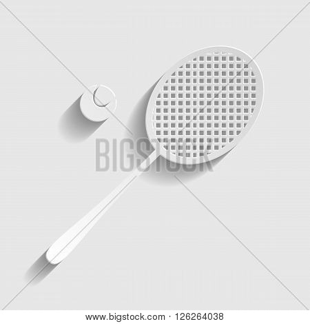 Tennis racquet icon. Paper style icon with shadow on gray