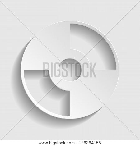 Vector CD or DVD icon. Paper style icon with shadow on gray