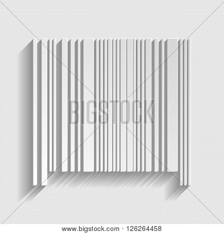 Bar code icon. Paper style icon with shadow on gray
