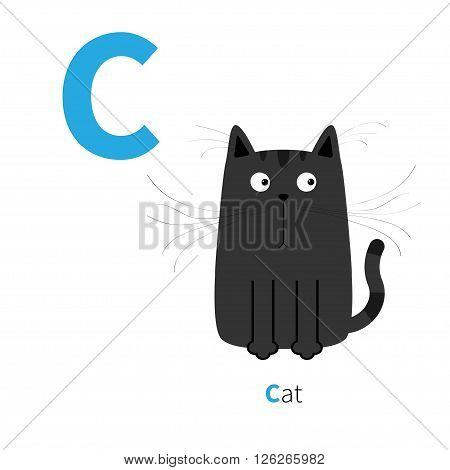 Letter C Cat black English abc with animals. Zoo alphabet. Education cards for kids Isolated White background Flat design Vector illustration