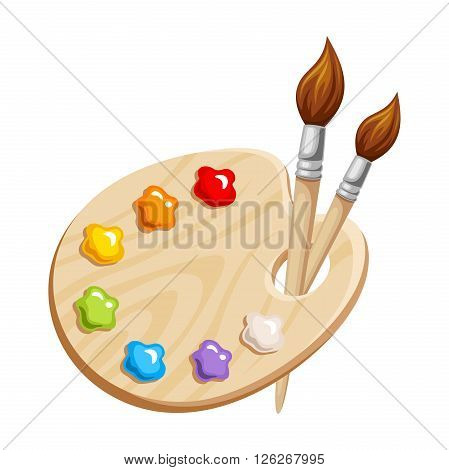 Vector illustration of an art palette with paints and brushes isolated on a white background.