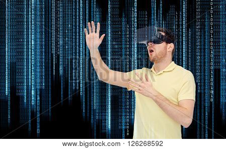 3d technology, virtual reality, entertainment and people concept - amazed young man with virtual reality headset or 3d glasses playing game over binary code background