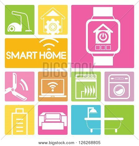 smart home and home automation in colorful buttons