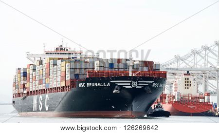 Cargo Ship Msc Brunella Arriving At The Port Of Oakland