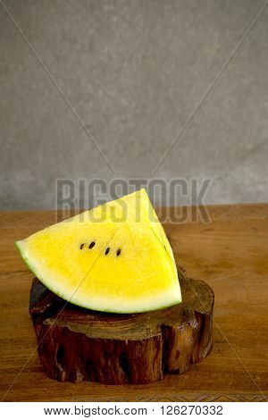 Yellow Water Mellon On Wood