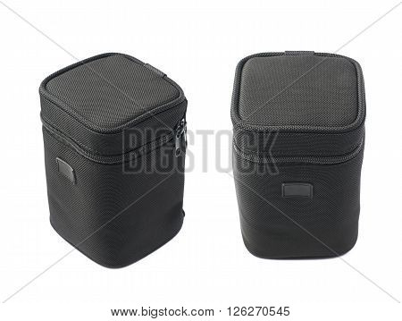 Black lens case bag isolated over the white background, set of two different foreshortenings