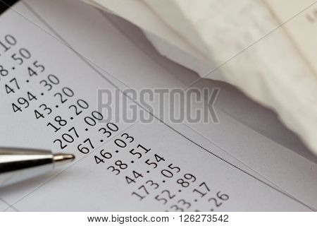 Bills, receipt or invoice. Concept of finance, financial planning,credit overdue,expenses.