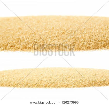 Line of stevia cane sugar isolated over the white background, set of two different foreshortenings