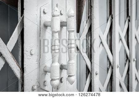 White steel door handles of the old sliding door (door, handle, vintage)