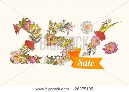 twenty five (25) percents sale. Vector floral digits