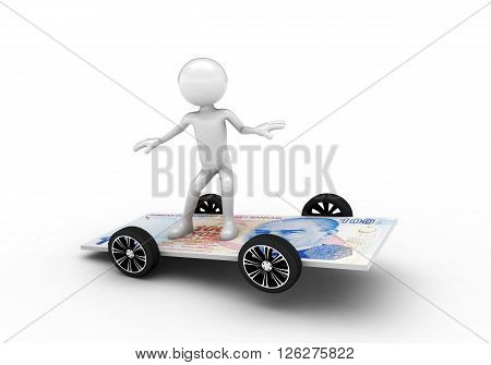 3D person surfing on the one hundred lira bill. Isolated on white background