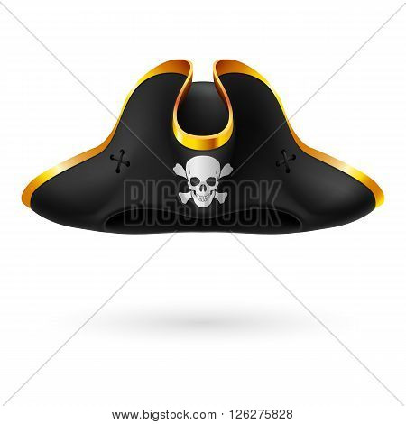 Black cocked hat with pirate symbol of skull and crossed bones