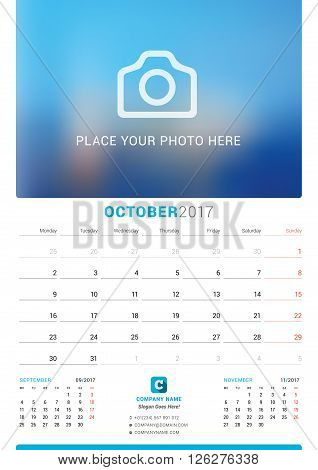 October 2017. Wall Monthly Calendar For 2017 Year. Vector Design Print Template With Place For Photo