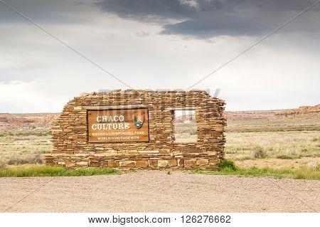 Chaco Culture National Historical Park. World Heritage Site.