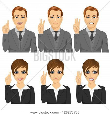 young business man and woman counting numbers from one to three with their fingers with different facial expressions
