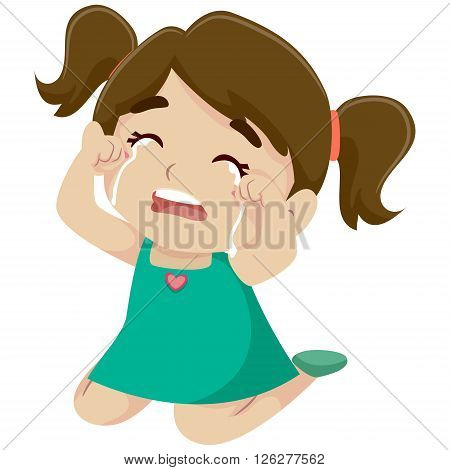 Vector Illustration of a Little Girl Crying