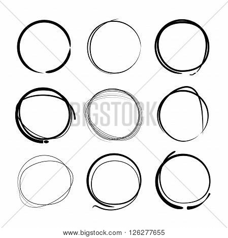 collection of 9 hand drawn circle markers
