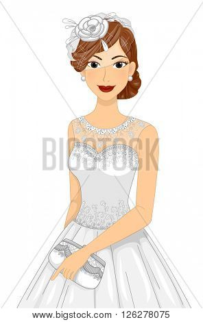 Illustration of a Lovely Bride Holding a Purse