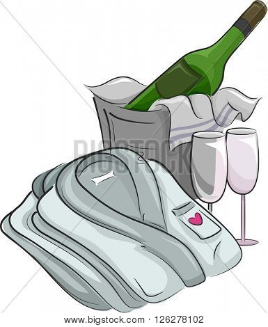 Illustration of a Bathrobe Folded Beside a Bucket of Champagne