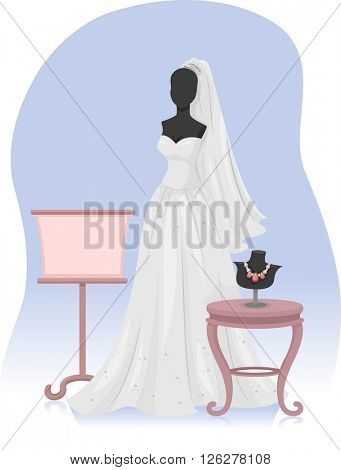 Illustration of a Mannequin Wearing a Bridal Gown