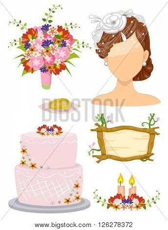 Illustration of Elements Related to a Garden Wedding