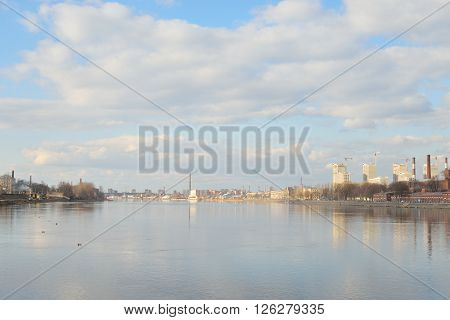 View of Neva River on the outskirts of St. Petersburg Russia.