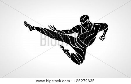 Karate power kick. Martial arts man silhouette. Detailed vector illustration of a martial arts master