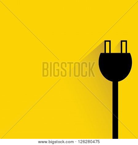 electric plug icon with drop shadow on yellow background
