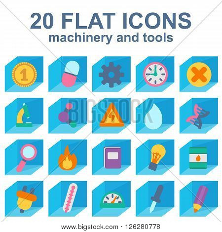 machinery and tools simple icons, icons isometric equipment
