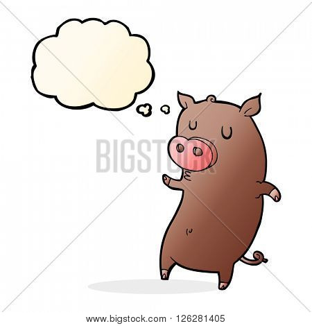 funny cartoon pig with thought bubble