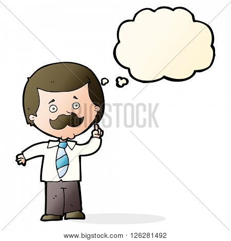 cartoon newsreader man with idea with thought bubble