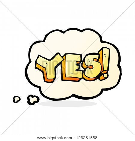 cartoon yes symbol with thought bubble