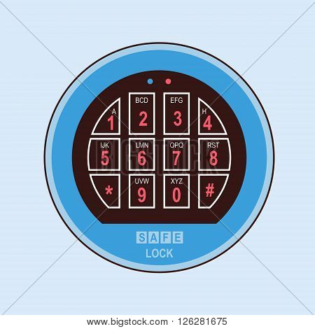 Vector illustration of a mechanical combination lock