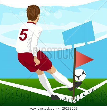 back view of soccer player taking corner kick