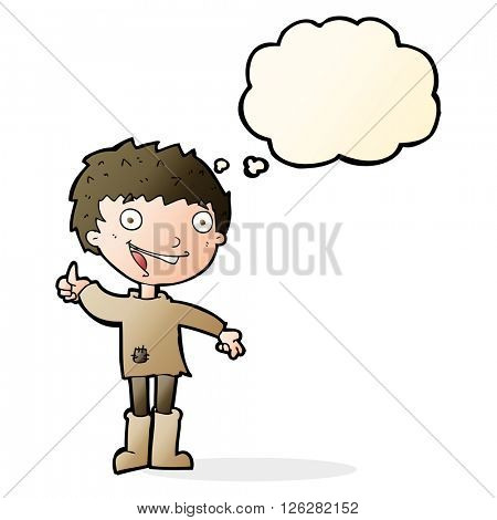 cartoon excited boy with thought bubble