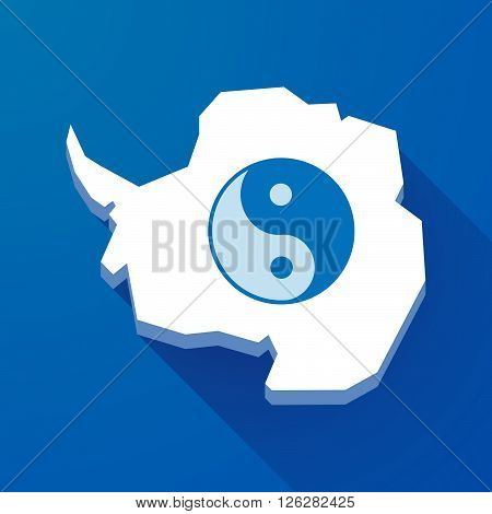 Long Shadow Map Of Antarctica Continent With A Ying Yang