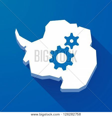Long Shadow Map Of Antarctica Continent With Two Gears