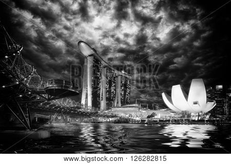 SINGAPORE CITY, SINGAPORE - FEBRUARY 19, 2016: Marina Bay Sands at night the largest hotel in Asia. It opened on 27 April 2010. Singapore on FEBRUARY 19, 2016