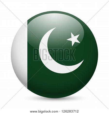 Flag of Pakistan as round glossy icon. Button with Pakistani flag