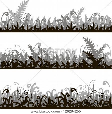 abstract vector silhouettes landscapes with grass green jungle vegetation, cartoon wild herbs, jungle vegetation, hand drawn vector background