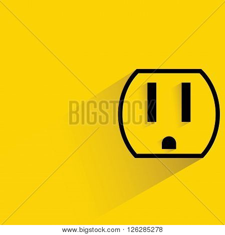 outlet icon with drop shadow on yellow background