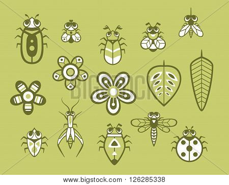 Cute bugs set. vector graphic isolated elements for design