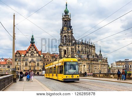 Dresden, Germany - May 04, 2014: Cathedral of the Holy Trinity and a tram. Dresden is the capital of Saxony.