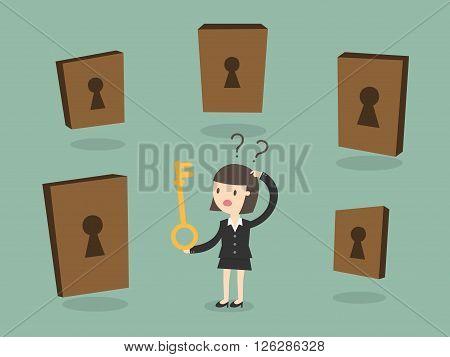 Business woman choosing the right door. Business Concept Cartoon Illustration.