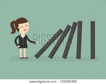 Business woman toppling dominoes. Domino effect. Business Concept Cartoon Illustration.
