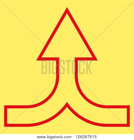 Combine Arrow Up vector icon. Style is stroke icon symbol, red color, yellow background.