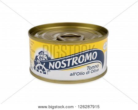 PULA, CROATIA - APRIL 17, 2016: Nostromo is one of the best known food brands in Italy. It was born as a company in 1941. Renamed in 1951 the Nostromo brand makes its products at its factory in Grado in North-East Italy.