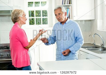 Senior couple arguing while standing in kitchen