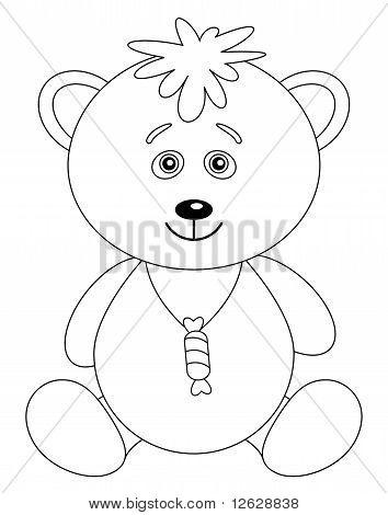 Teddy bear cub with a sweet, contour